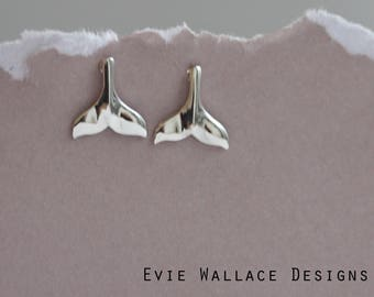 Whale Studs / Whale Tail Earrings / Sterling Silver / Whale Earrings / Aquatic Earrings / Sealife / Animal Earrings
