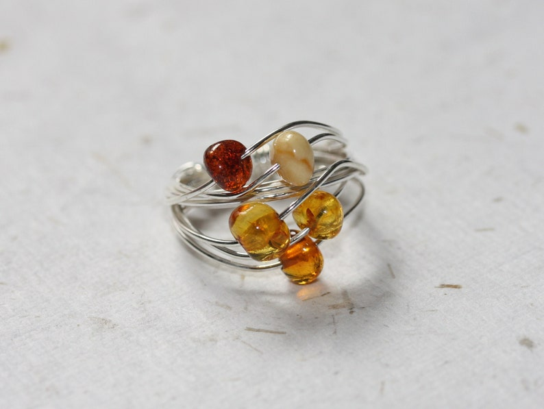 Amber Bead Ring  Mixed Amber Ring  Silver Wire Ring  Sterling Silver  Satellite Ring  Amber Beaded Ring  Multi Amber Ring