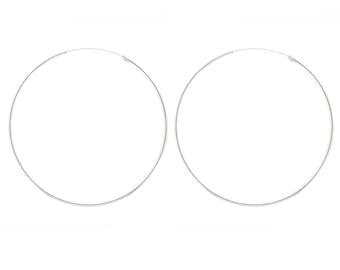 Sterling Silver hoops / 1.5mm 2mm  wide hoops / Sterling Silver / Thin hoop earrings / hoop earrings 70MM / 60MM / 50MM / 40MM / 30MM / 20MM