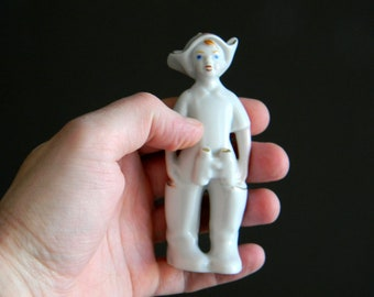 "Vintage Porcelain Figurine ""Granddaughter"" - Manufactured in the USSR - Porcelain Figurine Boy with binoculars - The boy in Budenovka"