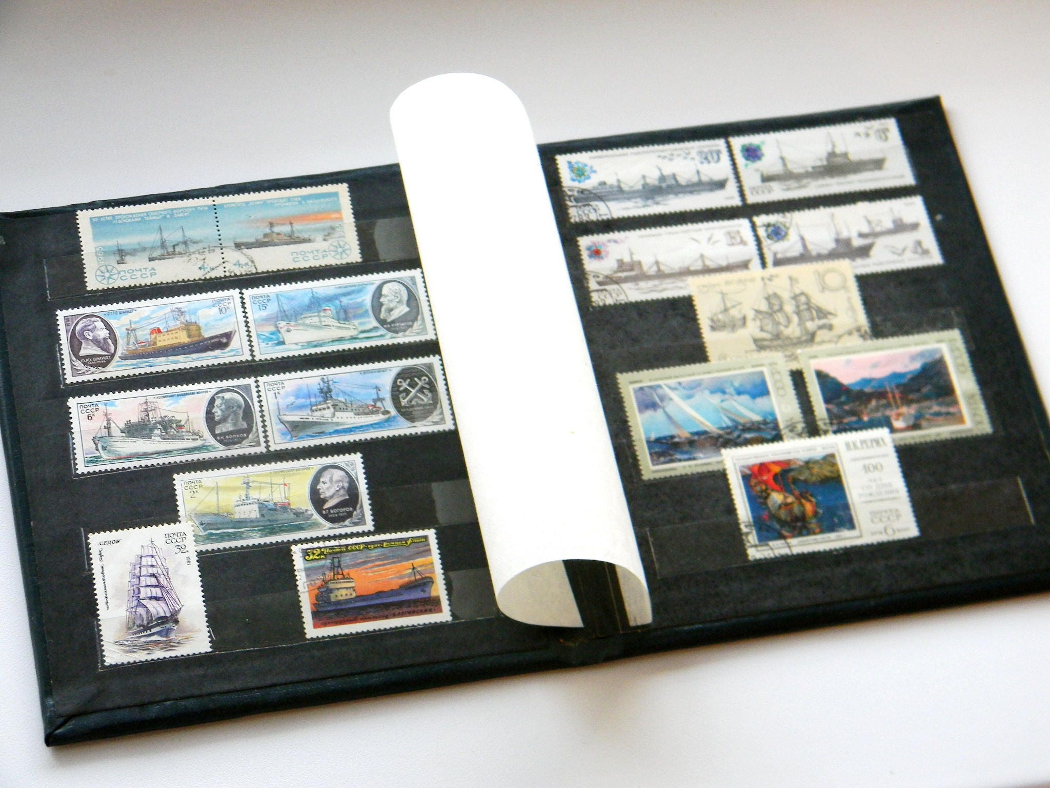 Vintage Album with Postal Stamps of the USSR-Soviet Postage Stamp  Collecting Album-Vintage Stamp Book-set of 17 Soviet ships theme stamps