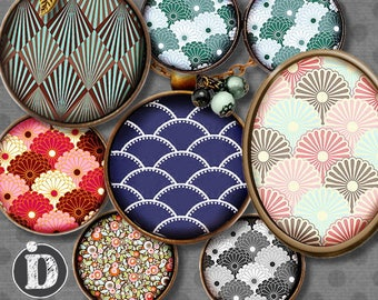 JAPONISANT **  Digital Collage Sheet Printable Instant Download for art jewelry scrapbooking bottle caps magnets pins