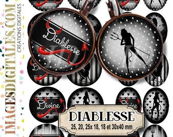 DIABLESSE ID Digital Collage Sheet Printable Instant Download for art jewelry scrapbooking bottle caps magnets pins
