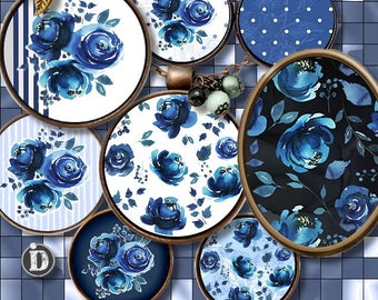 INDIGO **  Digital Collage Sheet Printable Instant Download for art jewelry scrapbooking bottle caps magnets pins