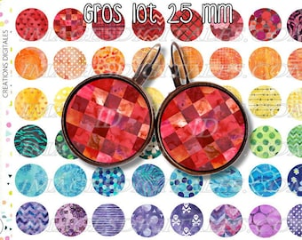 25 mm id 1 Digital Collage Sheet Printable Instant Download for art jewelry scrapbooking bottle caps magnets pins