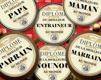 DIPLOME 58 MM Digital Collage Sheet Printable Instant Download for art jewelry scrapbooking bottle caps magnets pins