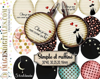 SIMPLE RAFFINE ID Digital Collage Sheet Printable Instant Download for art jewelry scrapbooking bottle caps magnets pins