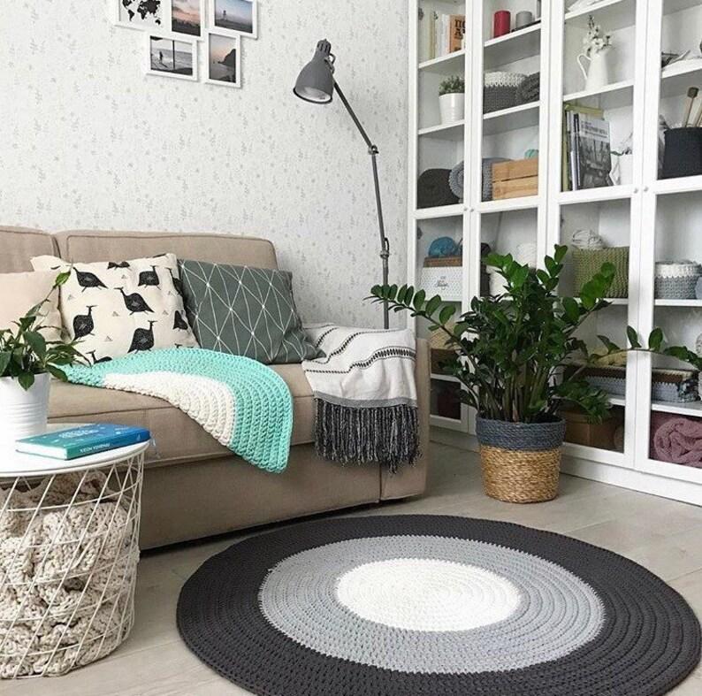 Crochet Round Rug, Knitted Multi Color Rug, Floor Rug, Nursery Cotton Rug,  Round Area Rug Living Room, Modern Floor Mat Baby Room
