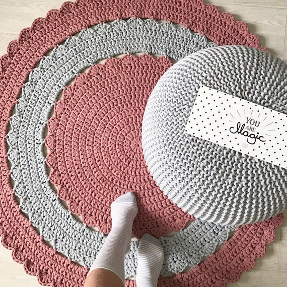 PINK Crochet Round Rug Nursery Knitted Rug Floor Area Rug