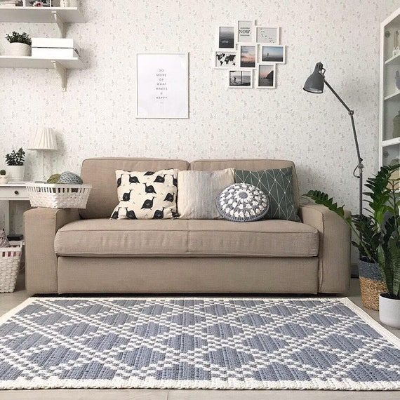Grey crochet area rug, Handmade Living room rug pad, Crochet large Rug,  Cotton rug, Floor rug, Modern rug