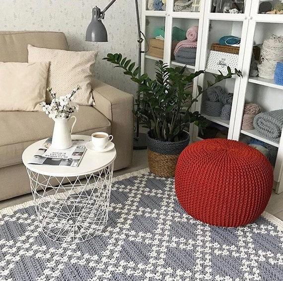 Grey rectangular area rug, Living room rug pad, Crochet large Rug, Cotton  rug, Scandinavian gray rug, Floor rug, Modern rug