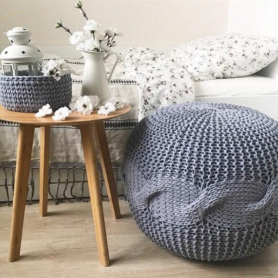 Super Grey Large Pouf Knitted Pouf And Ottoman Crochet Pouf Pouffe Floor Cushion And Pouf Footstool Nursery Round Ottoman Housewarming T Customarchery Wood Chair Design Ideas Customarcherynet