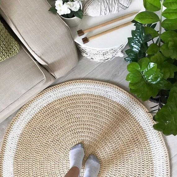 Beige Crochet Round Rug Nursery Knitted Rug Floor Area Rug Etsy
