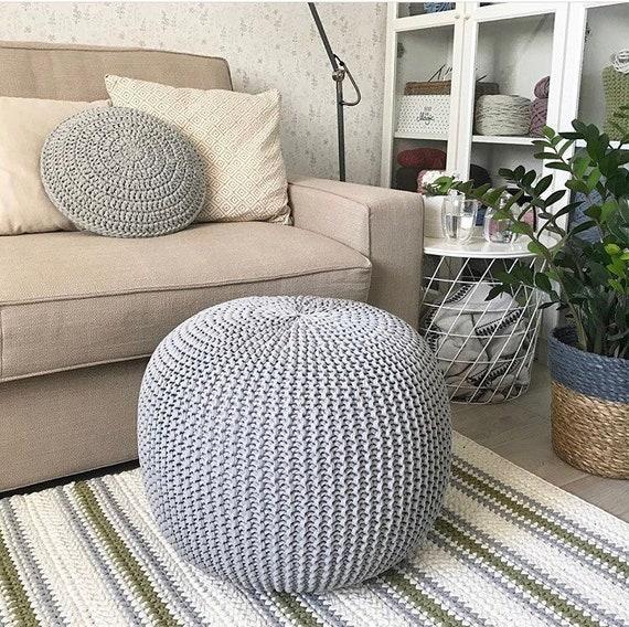 Swell Crochet Gray Poufs Knitted Pouf And Ottoman Pouffe Large Pouf Round Ottoman Floor Cushion Footstool Floor Pouf New Home T Customarchery Wood Chair Design Ideas Customarcherynet