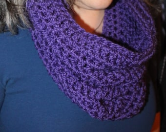 Hooded cowl/slouchy scarf/crochet scoodie/winter scarf/chunky neckwarmer/soft and cozy cowl/purple cowl/warm hoodie/infinity scarf/thick