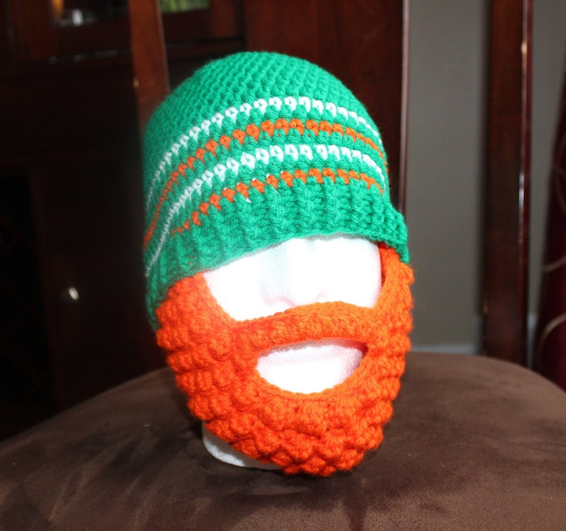 St. Patrick s Beard hat Irish colours Crochet  243d5ff13eb2