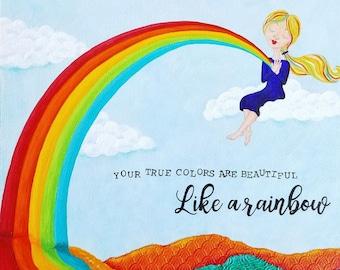 True Colors Like a Rainbow Original Art. Rainbow painting. Colorful art. Girls room art. Nursery decor. Rainbow Decor. Rainbow art.