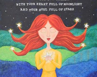 Stars art print. Stars painting. She is Made of Stars. Celestial art. Night sky. Red head girl. Starry sky. Soul full of stars.