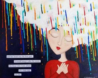 Rain art print. Colorful painting. Right as Rain. Calm of the storm. Inspirational quote. Rain lover art. Heart art. Girls room decor.