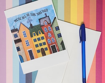 In This Together greeting card. Art card. Note card. Stationery. It Takes a Village art. Cityscape art. Whimsical houses. Friendship Card.