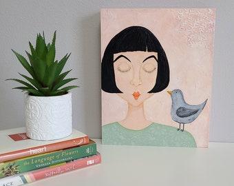 Bird Original Art. Bird Painting. A Little Bird Told Me. Bird Lover Decor. Bird Woman Portrait. Whimsical Bird. Woman and Bird. Bird Art.