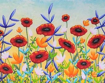 Wildflower Poppies Print. Wildflowers Painting. Wild Flowers. Colorful Flowers Painting. Spring Summer Inspired.