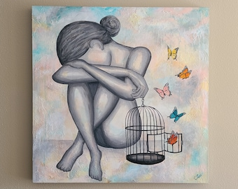 Figure Art. Abstract Figure Painting. Butterflies. Broken Heart. Healing a Broken Heart. Let it Hurt. Let It Go.