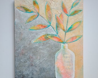 Leaves in Vase Painting. Morning Sun. Simple Art. Textured painting. Still Life painting. Colorful Still Life. Colorful Leaves.