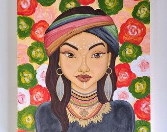 I am Light Original Painting. Woman Portrait. Warrior Woman. Goddess Woman. Fierce Woman Art. Boho Decor. Original Art.