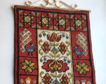 Vintage Swdish Embroidered Wall Hanging / Tapestry