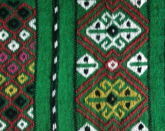 Green handwoven Swedish tapestry/ wallhanging/ tablecover