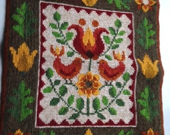Vintage Swedish Embroidered Wall Hanging