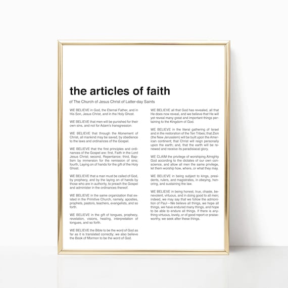 graphic about Articles of Faith Printable known as Progressive Articles or blog posts of Religion Print - LDS Articles or blog posts of Religion Printable - Fashionable LDS Artwork - Minimalist LDS Prints