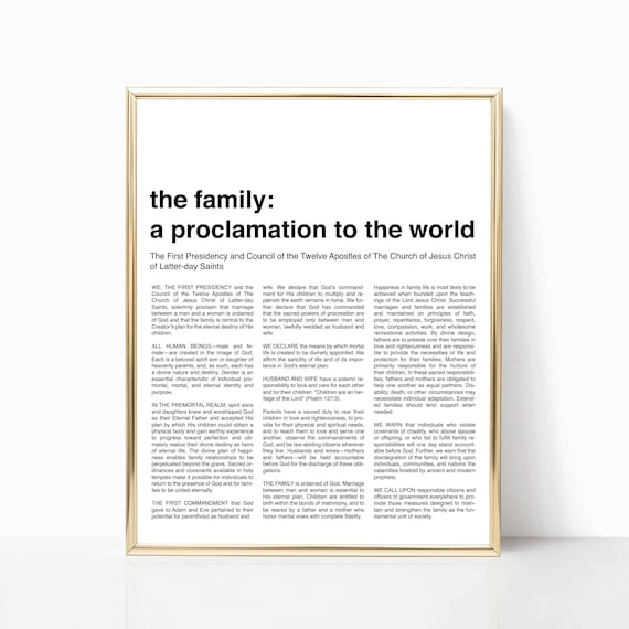 graphic regarding Family Proclamation Printable named Innovative Loved ones Proclamation Print - LDS Loved ones Proclamation Printable - Fashionable LDS Artwork - Minimalist LDS Prints