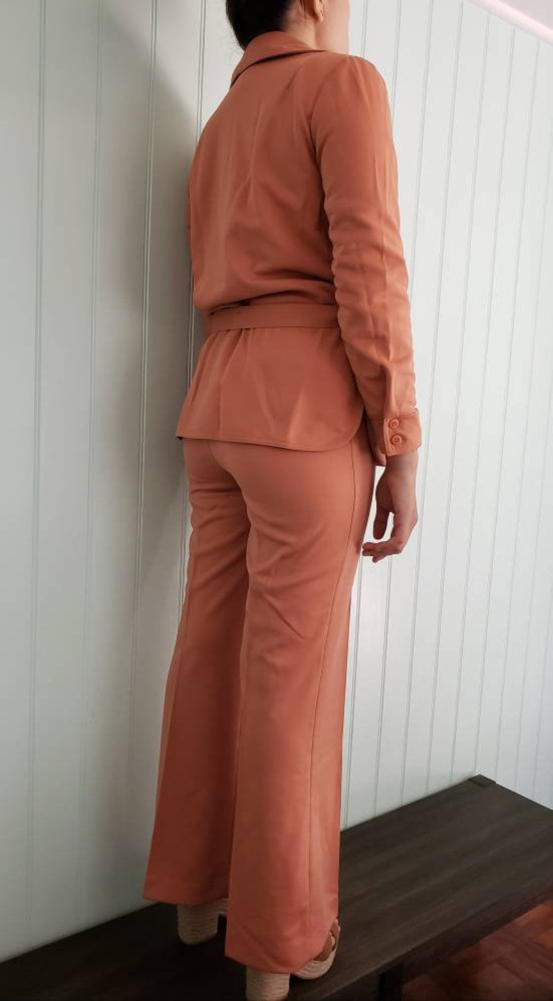 New with tags size 78 womens Vintage Alex Colman California Suit 1960/'s early 70/'s Laguna Knit Suit Salmon Color