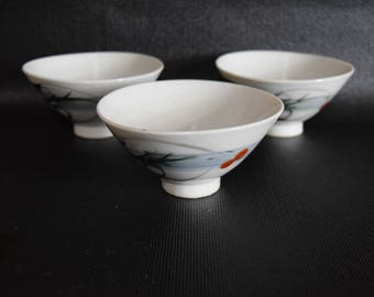Set Of Three Asian Style Tea Cups
