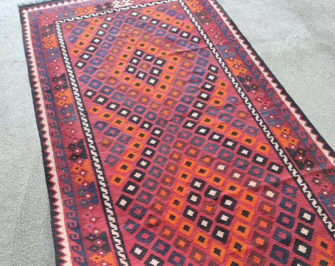 4x8 kilim rug, bathroom rug, decorative rug, vintage flower shape rug, housewarming gift, tribal rug, dusty rose rug, jute rug, blanket