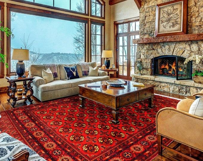 Stunning Bokhara Rug Turkmen Tekke Soft Well-made Handmade Rug, Bokhara Rug, Handmade Wool Area Rug, High Quality Rug, Living room rug