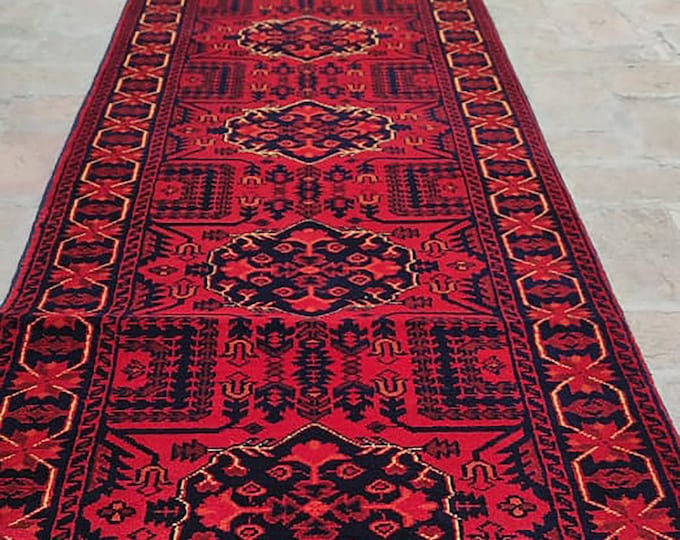 2x22 Afghan rug, office area rug, housewarming gift, chindi rug, bathroom rug, runner rug, soft made, nursery decor, baluch rug, turkey rug