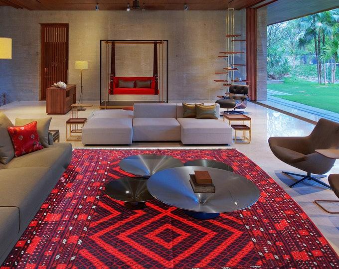 Vintage Handmade Maimana Afghan Red Kilim Rug Kitchen Office, Carpet Flat Woven Kilim Rug Handwoven Flat woven Kilim Rugs, Big size rug