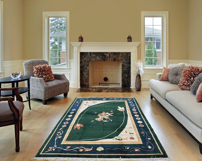4.9X6.7 Ft Well-made Brand New Merinos Afghan Handmade Rug Made With Soft Wool