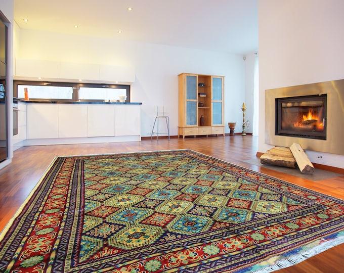 7x10 Feet WELL-MADE SOFT Handmade Afghan Turkoman Persian Design area rug, Geometric Rug, Elegant Rug, Soft wool rug