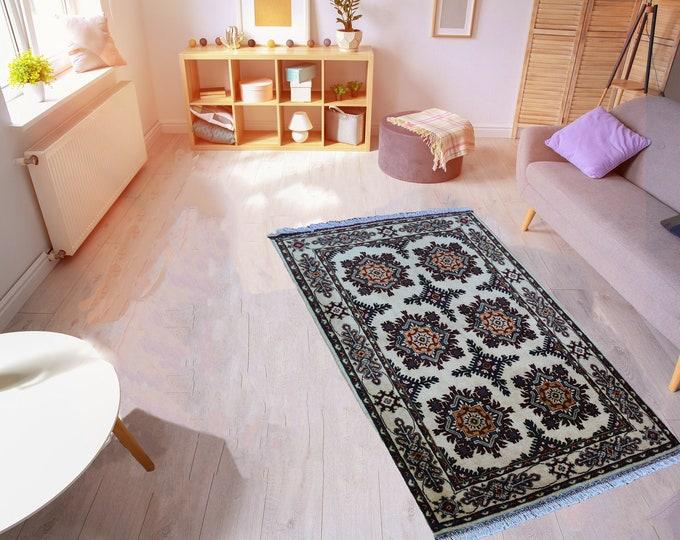 4'9X3'3 ft Floral Handmade Spun Wool Rug, Authentic High Quality Very Soft Afghan Handmade  Chobe Marinos rug Oriental Persian Design Rug