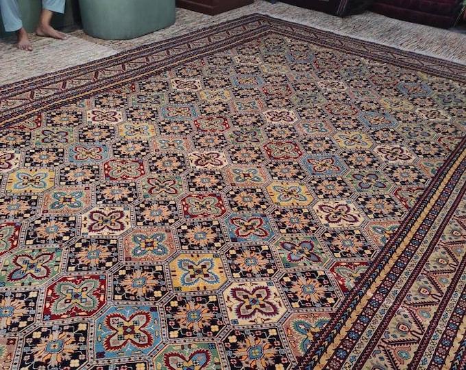 10x16 Ft Big Size, Soft Well-made Afghan Turkmen Handmade Rug, Wool Area Rug Hand-knotted Rug, Persian Rug,  Floor rug, Area Rug, Moroccan