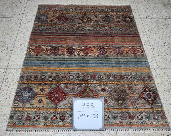 5x7 Afghan rug, baluch rug, sumac rug, neutral oriental rug, rug runner, southwestern, rug small, rug chindi, rug turkish, hand hooked rugs