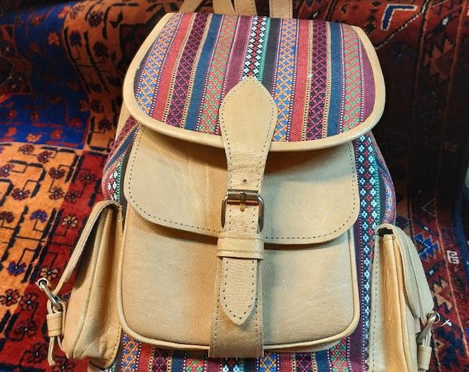 Leather Bag, Kilim Back pack, Afghan Bag, hand backpack, Kilim canvas backpack, Unique design Kelim Leather Bag Handmade Leather travel bag