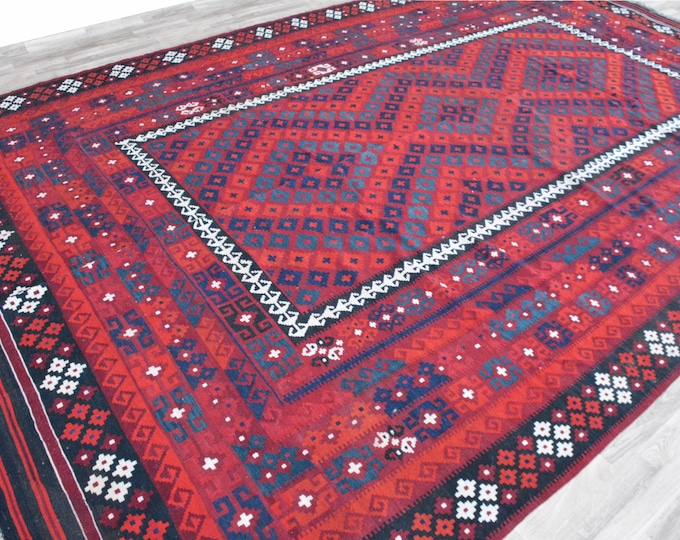 Big Size Soft Well-made Afghan Maimana  Red Rug for Living room Kitchen Office, Carpet Flat Woven Kilim Rug Handwoven Flat woven Kilim Rug