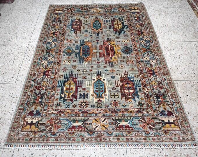 Rug,  Turkish rug, Area rug, Hand knotted wool rug - Living room rug - Bedroom rug - Grey Oushak, Rustic Home Decor, Decor, Moroccan rug