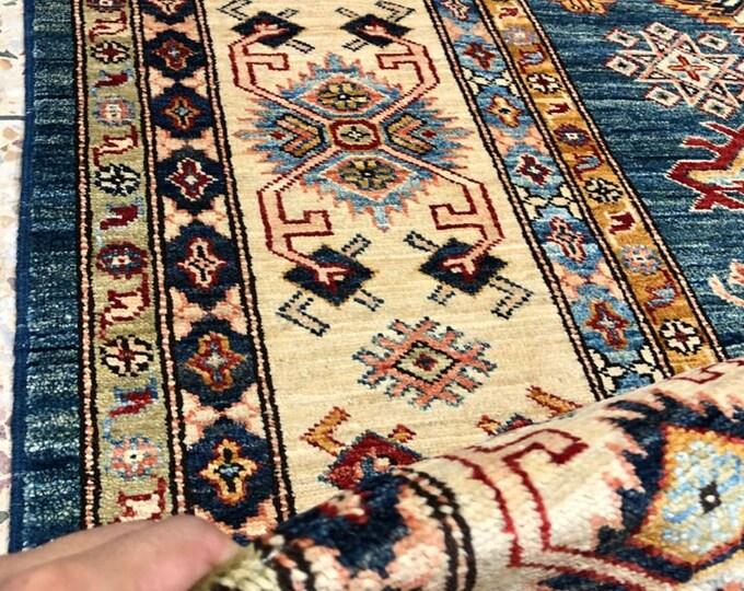 "Handmade Super Kazak Afghan Area Rug 8'24"" X 10'21"""