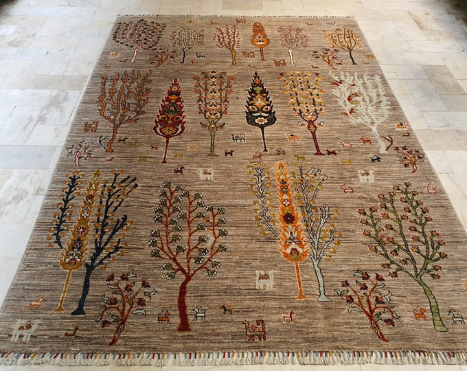Living Room Size Merinos Afghan Handmade Rug Made with SOFT Wool of Sheep with Vibrant Colors